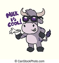 Milk is cool - Ox with sunglasses cartoon