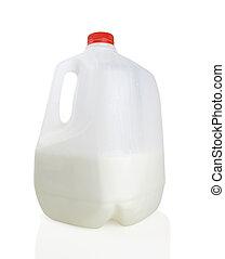 Gallon jug of milk, half full, on white