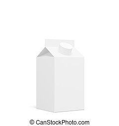 Milk, juice blank carton package box, isolated on white background, 3D rendering