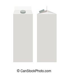 Milk Juice Carton Packaging Package. White Blank box. Flat vector