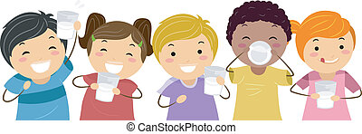 Milk Kids - Illustration of Kids Happily Drinking Milk