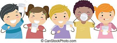 Milk Kids - Illustration of Kids Happily Drinking Milk