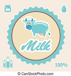 Milk Label with cow - vector illustration