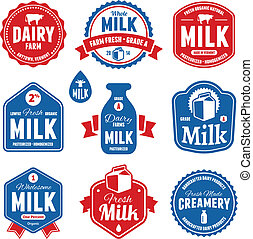 Milk labels - Set of milk and dairy farm product labels