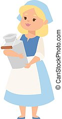 Milk lady vector illustration.