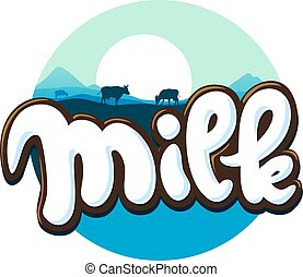 milk logo hand written with cow silhouette - vector