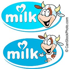 milk logo with cow - vector