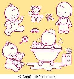 milk., marche, bain, prendre, illustration, vecteur, bébés, boire, jouer