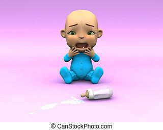 milk., mignon, sur, bébé pleurant, dessin animé, renversé