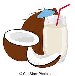 milk., noix coco, arrière-plan., sain, illustration,...