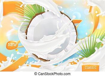 milk., noix coco, paquet, réaliste, vecteur, splash., conception, blanc, 3d, crème