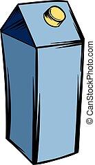 Milk or juice carton box icon cartoon