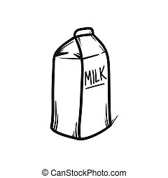 Milk pack vector hand drawn illustration. Black lines doodle icon