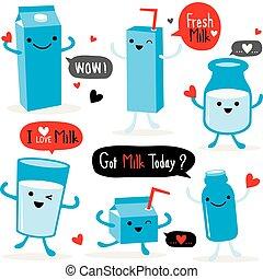 Milk Package Cartoon Character Cute Vector