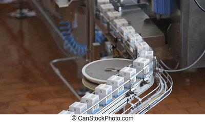 Dairy products in tetra packaging - Milk package conveyor....