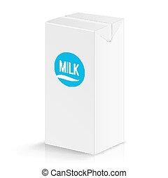 Milk Package Vector Mock Up. Realistic Illustration. Blank...