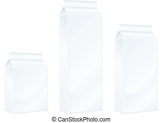 Milk packages - Milk carton packages isolated on white...