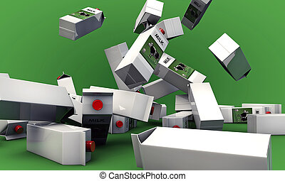 milk packages falling down on green background