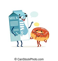 Milk packing and cute donut in chocolate icing with blank speech bubbles. Comic food and drink characters. Flat vector illustration