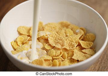 milk pour into bowl with corn flakes