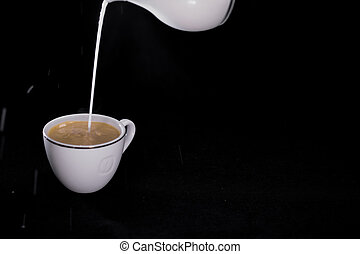 milk poured in a Cup of coffee