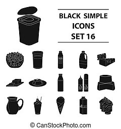 Milk product and sweet set icons in black style. Big collection of milk product and sweet bitmap, raster symbol stock illustration