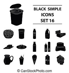 Milk product and sweet set icons in black style. Big collection of milk product and sweet vector symbol stock illustration