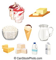 Milk product and sweet set icons in cartoon style. Big collection of milk product and sweet vector symbol stock illustration