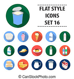Milk product and sweet set icons in flat style. Big collection of milk product and sweet bitmap, raster symbol stock illustration