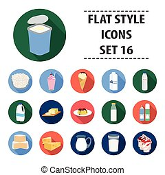 Milk product and sweet set icons in flat style. Big collection of milk product and sweet vector symbol stock illustration