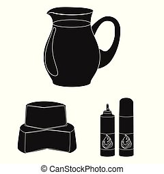 Milk product black icons in set collection for design. Milk and food vector symbol stock web illustration.