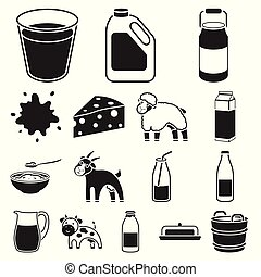 Milk product black icons in set collection for design.Milk and food vector symbol stock web illustration.