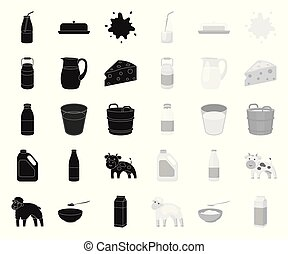 Milk product black. mono icons in set collection for design. Milk and food vector symbol stock web illustration.