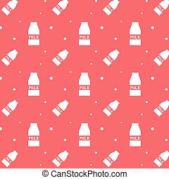 Milk Product Carton Box Silhouette Seamless Pattern