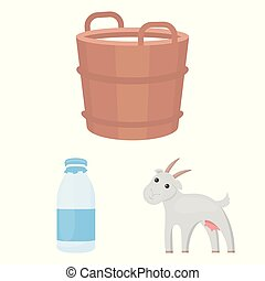 Milk product cartoon icons in set collection for design. Milk and food vector symbol stock web illustration.