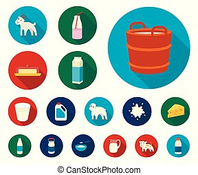 Milk product flat icons in set collection for design. Milk and food vector symbol stock web illustration.