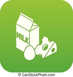 Milk product icon green vector