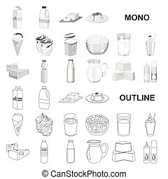 Milk product monochrom icons in set collection for design. Milk and food vector symbol stock web illustration.
