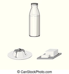 Milk product monochrome icons in set collection for design. Milk and food vector symbol stock web illustration.