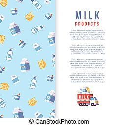Milk production poster template - farm dairy banner design