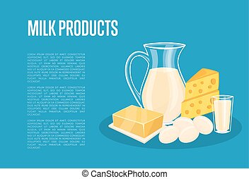 Milk products banner with dairy composition