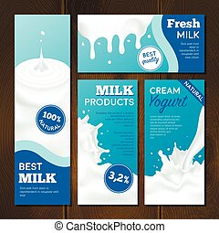 Milk products realistic banners set with splashes on wooden background isolated vector illustration