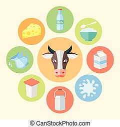 Milk products, dairy products vector flat design