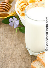 milk products isolated on wood