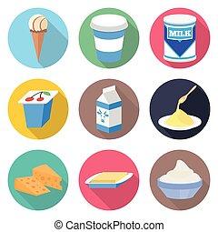 Milk products vector icon set