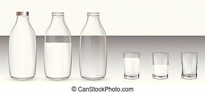 milk., realistico, set, bottiglie, occhiali