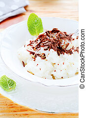 milk risotto with chunks of chocolate