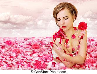 Milk river with rose petals