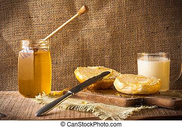 milk roll honey bread food vintage