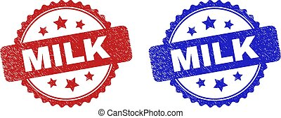 Rosette MILK watermarks. Flat vector scratched stamps with MILK caption inside rosette shape with stars, in blue and red color variants. Imprints with scratched surface.